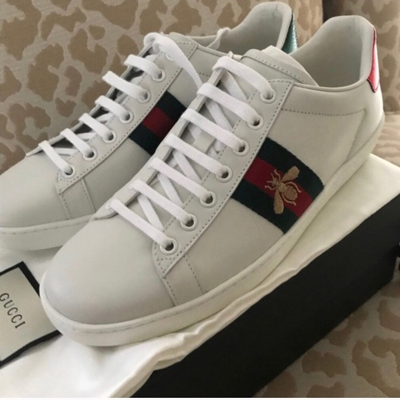 cc117ea84b7 Gucci Women s New Ace Leather Lace Up Sneakers